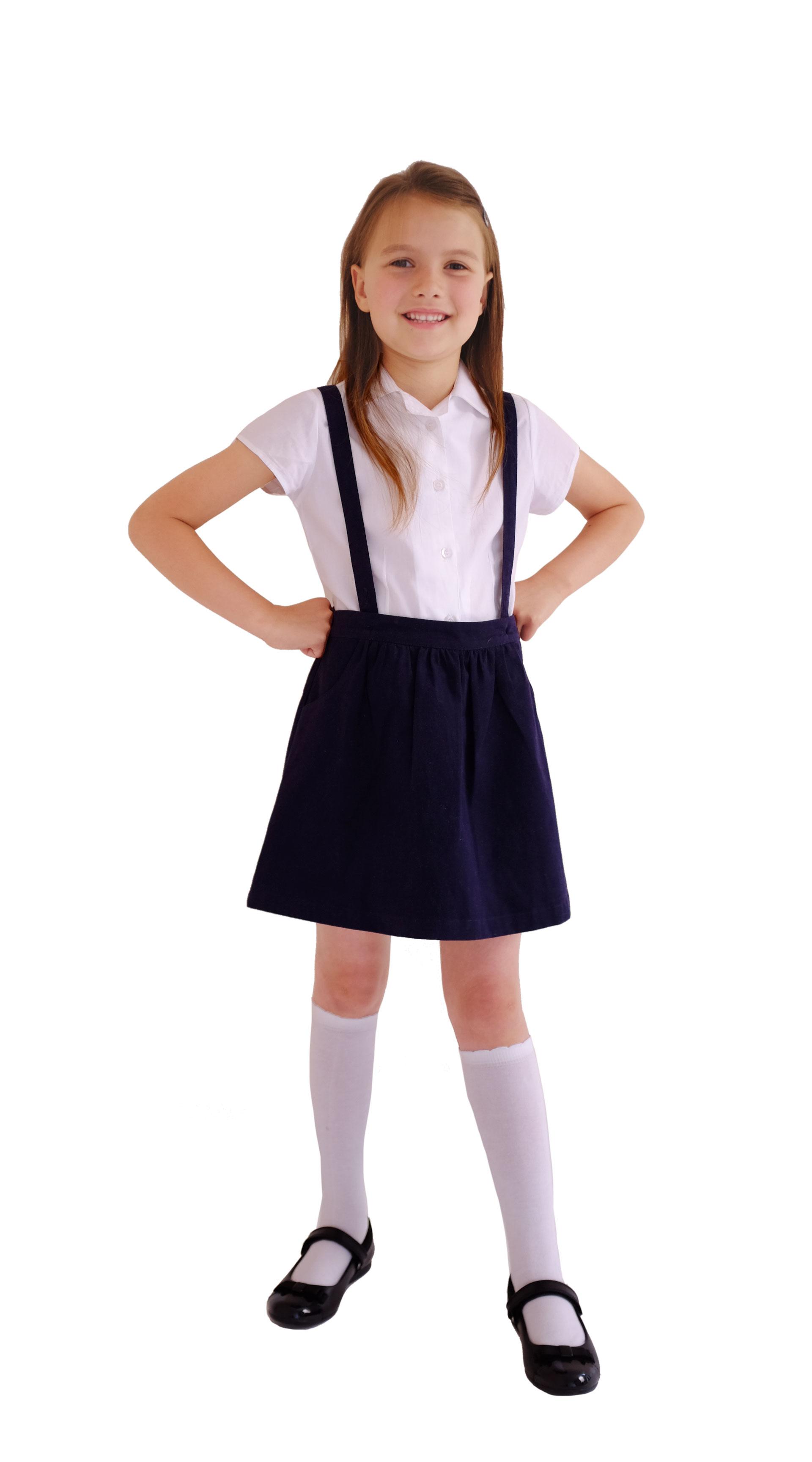 Girls School Uniform Navy Skirt With Detachable Braces