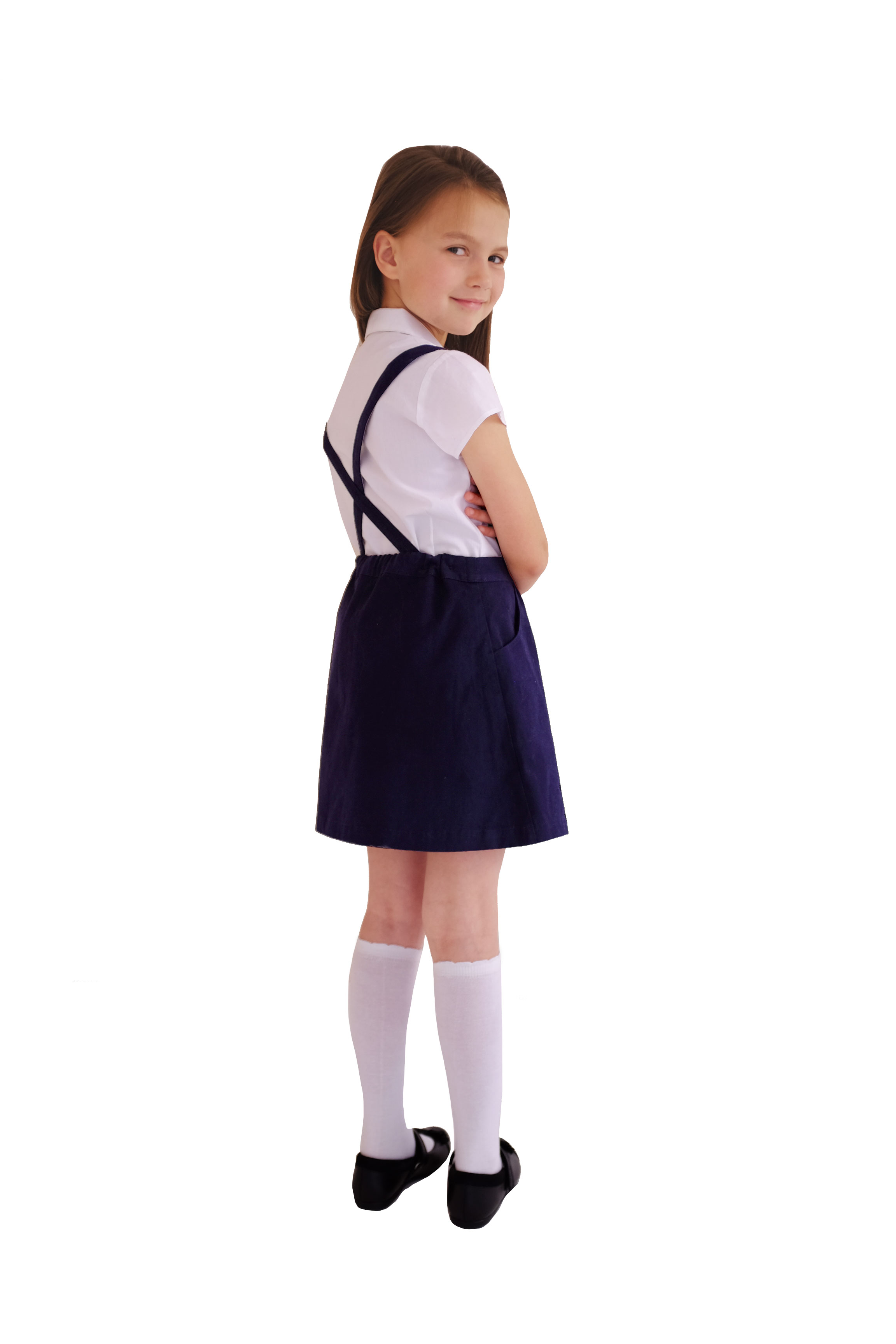 98caec3f3 Girls School Uniform | Navy Skirt With Detachable Braces | EcoOutfitters